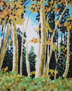 "Digital image of original acrylic painting by Linda Eileen S. George a.k.a ""Eilee"" George on canvas entitled 'Octreeber'; 10"" h x 8"" w; a representation of autumn aspens in bright afternoon sun, in a rectilinear, fractured style"