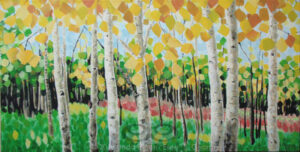 "Digital image of original acrylic/multimedia work by Linda Eileen S. George a.k.a ""Eilee"" George entitled 'Pageantree'; 24"" w x 12"" h x 1.75"" d; a stylized autumn scene of aspens in a meadow"