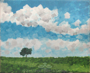 "Digital image of the acrylic painting entitled ""Solitree"" by L. ""Eilee"" S. George, 8.5""x11"", acrylic on canvas, painted in 2015, of a solitary tree on a broad hill in rural Erie, Colorado during the late spring"