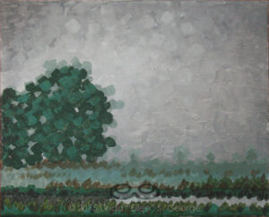 "Digital image of the acrylic painting entitled ""Thirstree"" by L. ""Eilee"" S. George, 8.5""x11"", acrylic on canvas, painted in 2015, of trees in the fog in rural Henderson, Colorado during the spring"