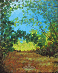 "Digital image of the acrylic painting entitled ""Territree"" by L. ""Eilee"" S. George, 8.5""x11"", acrylic on canvas, painted in 2015, of trees growing alongside a path in Lair o' the Bear open space park near Morrison, Colorado during the autumn, as dappled sunlight is cast through the trees from the left to fall invitingly onto random spots on the path"