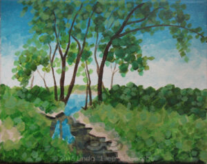 "Digital image of the acrylic painting entitled ""Thirstree"" by L. ""Eilee"" S. George, 8.5""x11"", acrylic on canvas, painted in 2015, of trees growing alongside a canal in Welby, Colorado during the summer"
