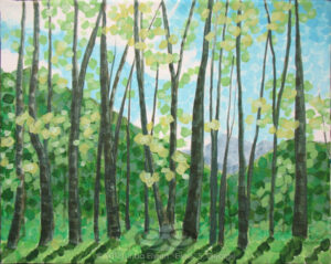 "Digital image of original acrylic painting by Linda Eileen S. George a.k.a ""Eilee"" George on canvas entitled 'Unitree'; 10"" w x 8"" h; a representation of a glade of springtime trees in bright daylight, in a rectilinear, fractured style"
