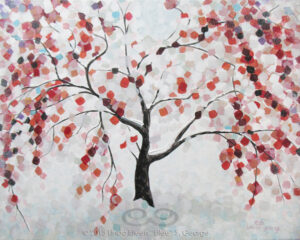 "Digital image of original acrylic/multimedia work by Linda Eileen S. George a.k.a ""Eilee"" George entitled 'Wintree'; 16""h x 20""w x .75"" d; a stylized spring scene of a blooming weeping cherry tree caught in snow"