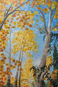 "Digital image of original acrylic/multimedia work by Linda Eileen S. George a.k.a ""Eilee"" George entitled 'Idolatree'; 24"" w x 36"" h x 1.75"" d; a stylized autumn scene with aspens against a blue sky"