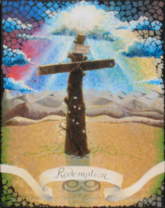 """Digital photo of acrylic painting entitled """"Redemption: The Tree of the Cross"""" © 2017 (Linda) """"Eilee"""" S. George, 48""""w x 60""""h, part of the """"3 Trees"""" Triptych within the Israel Series for Calvary Community Baptist Church in Northglenn, CO; lovingly painted with squarish strokes in a Neo-Pixelist style in colors including ochre, cream, mauve, plum, red, salmon, yellow, purple, blue, olive, charcoal, black, green, lime, violet, fuschia, indigo, sepia, gold, brown, beige and white, depicting the Tree of the Cross Calvary/Golgotha against a background of distant Jericho's barren mountains and dunes, a symbolic blooming dogwood sapling and life-affirming vines growing at the base of its trunk and a dramatic burst of sun rays from darkened clouds with the light of hope sent by God; signed L. Eilee George with logo"""