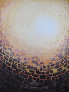 """Digital image of original acrylic painting by Linda Eileen S. George a.k.a """"Eilee"""" George on canvas entitled 'Pursuit of Providence'; 30"""" w x 40"""" h, a view of a light in a glowing peach sky beyond deep purple-gray stones and bricks that seem to surround the viewer from below and break up and deconstruct into the sky as they reach toward the light, a metaphor for the fact that often the walls that we perceive to be encompassing and limiting us are built by our own hands (or minds), and therefore can be broken down by our own conscious will in order to achieve our destinies"""