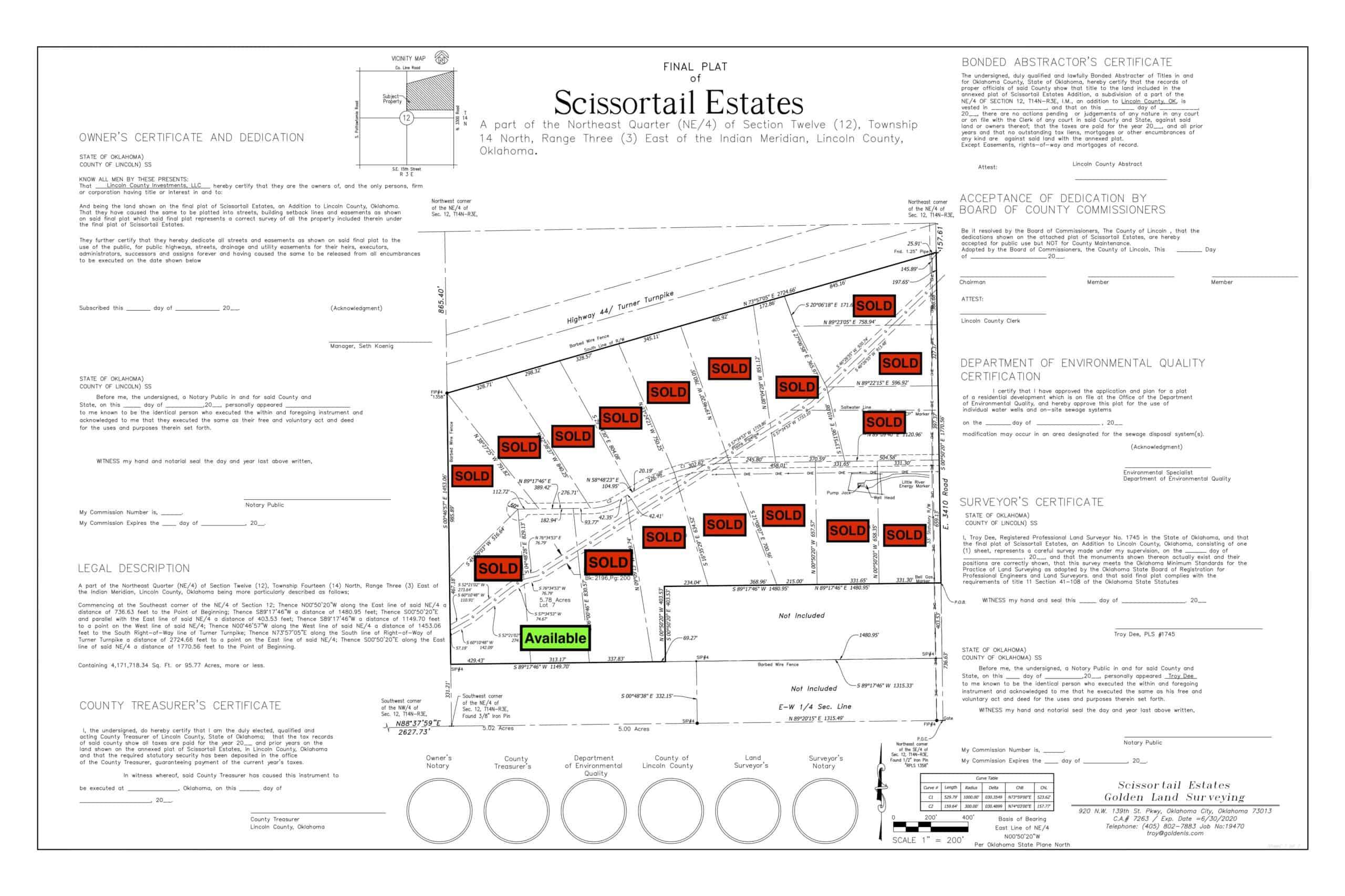 Scissortail Estates Plat