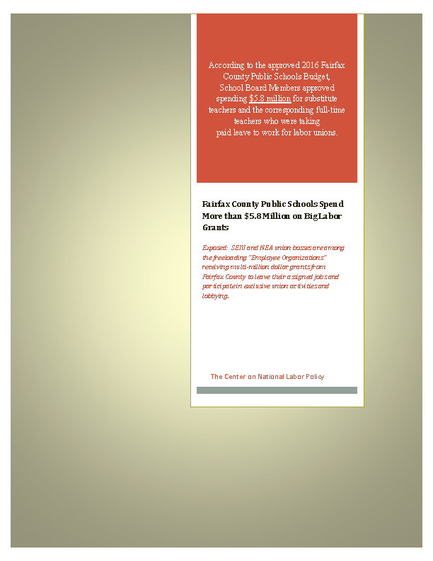 Download CNLP's Report: Virginia Wasted Tax on Paid Union Leave (2015)