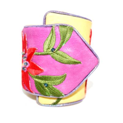 Fleur de Fleur Cuff - Fuscia Suede