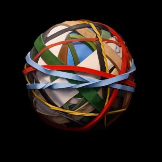Oil painting on canvas by Canadian artist Joanna Strong of a rubber band ball representing winter pleasures.
