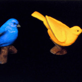 Oil painting by Joanna Strong of miniature birds, a cardinal, bluebird, and oriole, and a toy fuel truck.