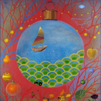 Oil and acrylic painting by Joanna Strong of a paper boat, lanterns, ornaments and flowers, representing an interior thought landscape.
