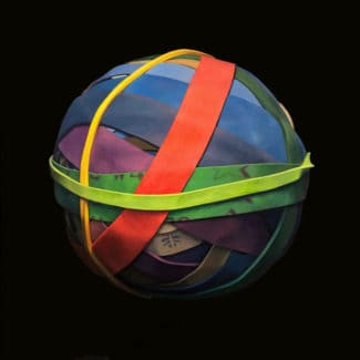 """Oil painting on canvas of a rubber band ball by Canadian artist Joanna Strong, entitled: """"A Walk Over the Hills""""."""