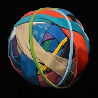 """Oil painting of a rubber band ball by Toronto artist Joanna Strong, called """"Adventure Ball""""."""