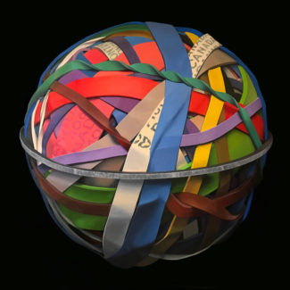 """Oil painting by Toronto artist Joanna Strong of a rubber band ball, entitled """"Road Trip""""."""