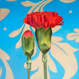 Oil painting by Canadian artist Joanna Strong of a red carnations.