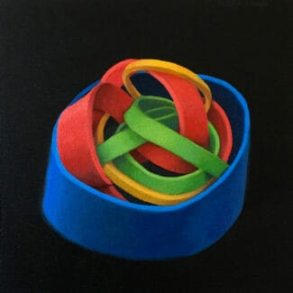 Painting by artist Joanna Strong of coloured rubber bands, entitled Contained Excitement.