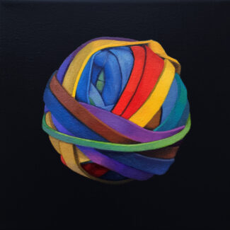 """Oil painting by Toronto artist Joanna Strong of a rubber band ball, entitled """"Off-Road""""."""
