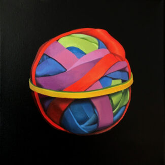 """Oil painting by Toronto artist Joanna Strong of a rubber band ball, entitled """"Ready to Go""""."""