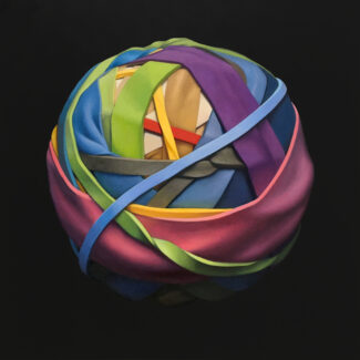 Oil painting on canvas of a rubber band ball by Canadian artist Joanna Strong, entitled: Spring Morning.