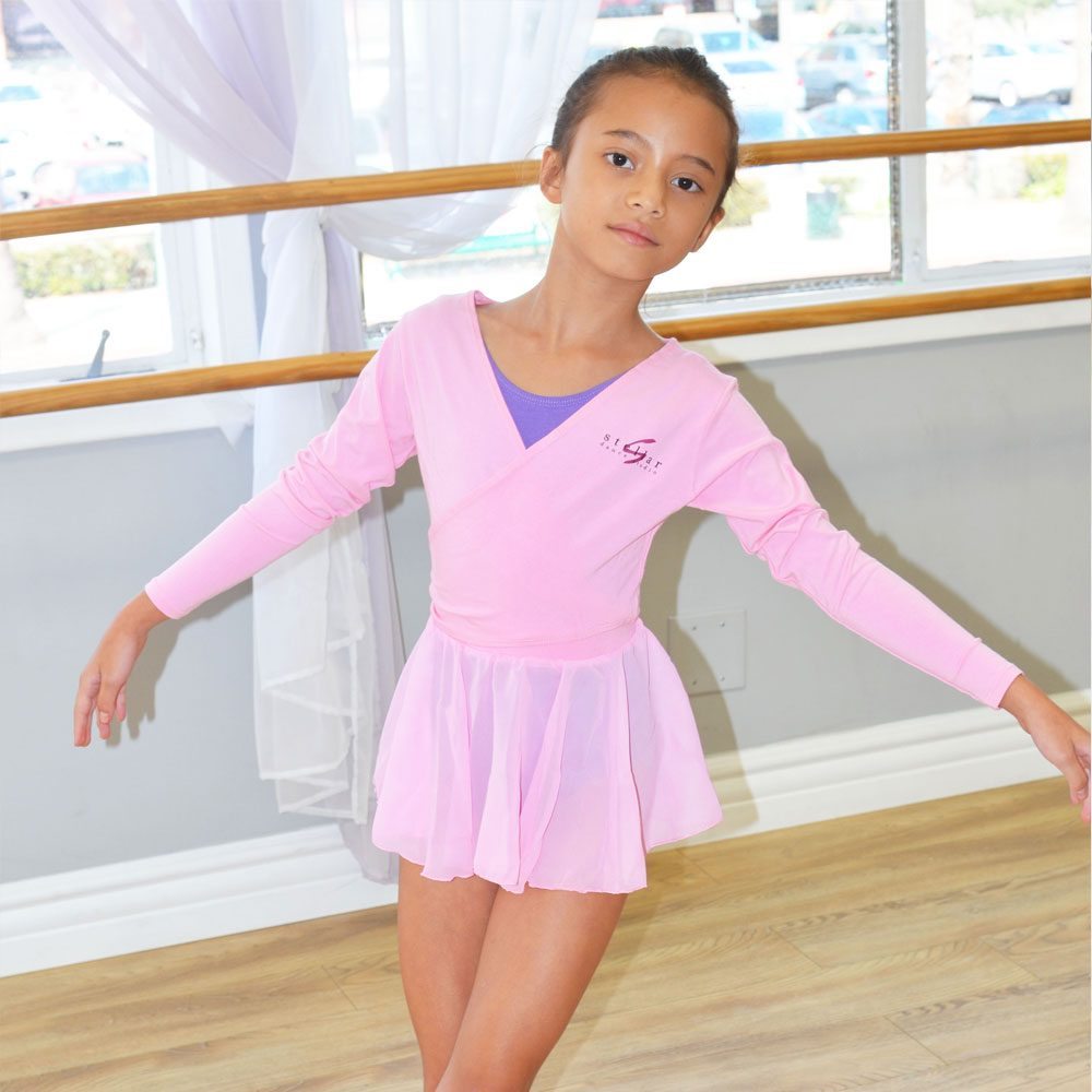 Pink Ballet Wrap Top   Stellar Dance Studio