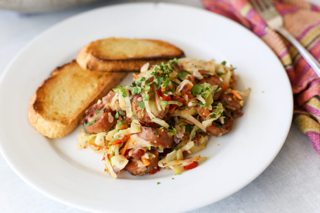 sauteed cabbage with chicken sausage and mustard