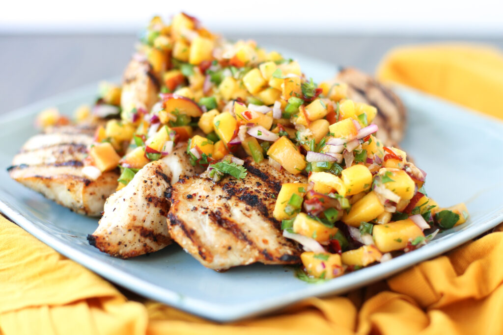 Grilled Chicken with Peach Chipotle Salsa