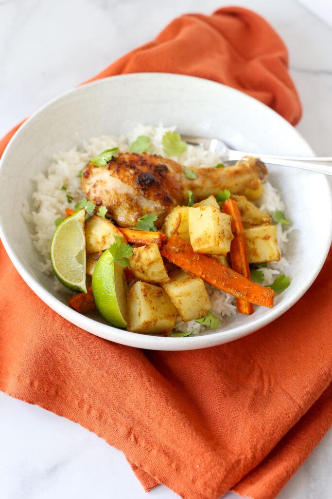 yellow curry chicken sheet pan dinner