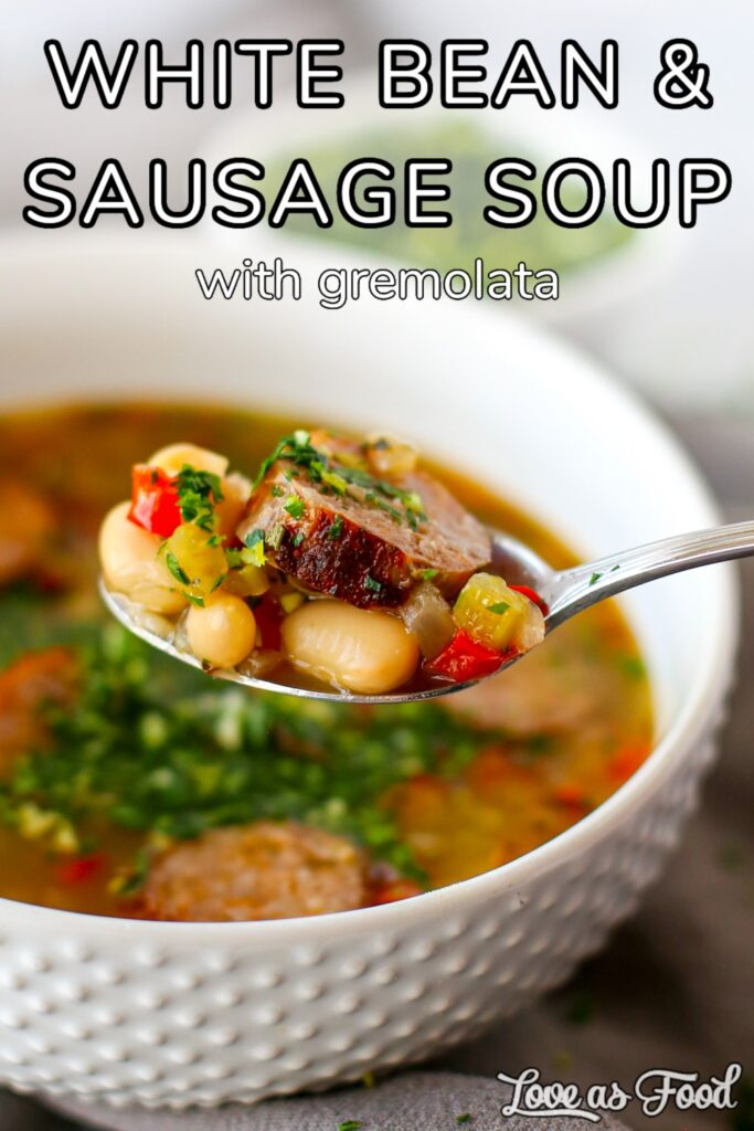 white bean and sausage soup with gremolata