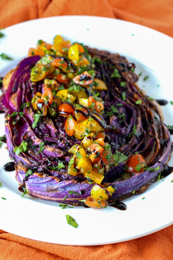 roasted red cabbage with tomato parsley relish