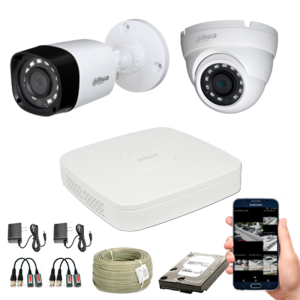 KIT CCTV DAHUA MINI DVR TRIHIBRIDO KIT-6