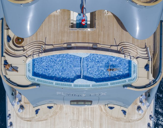 Extraordinary swimming pools - Flying Fox – Aft deck – top view. ©Guillaume Plisson for Imperial