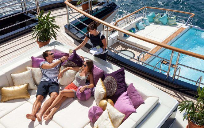 Lurssen Motor Yacht SOLANDGE – Sunbeds and Crew Service