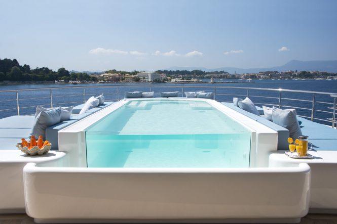 Pool aboard mega yacht O'Ptasia
