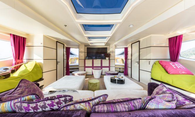 Discounted weekly rate in the West Med with striking 49m superyacht KHALILAH Beautiful colour rich interiors with comfortabe furnishings 665x398 1 BB Yacht Charter Marbella