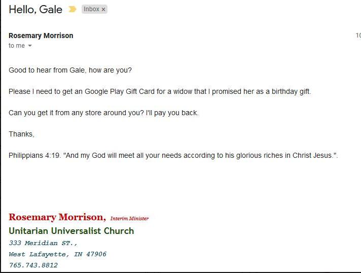 Screensshot of phishing email
