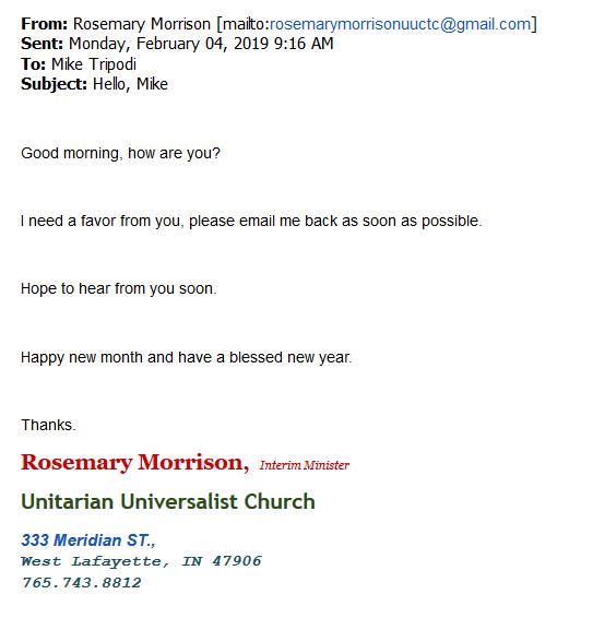 Screens shot of phishing email
