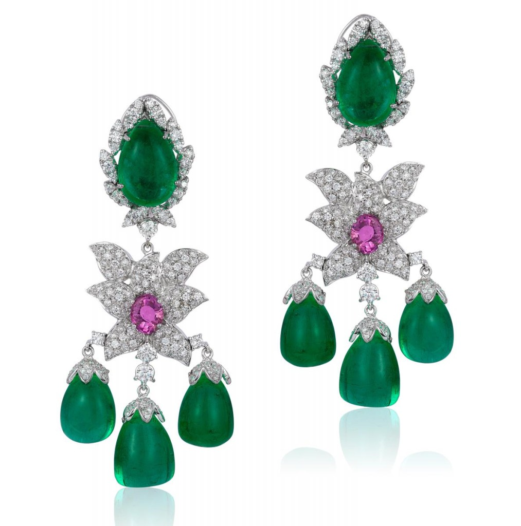 One-of-a-kind earrings in 18k white gold with 79.13 cts. t.w. emeralds, 3.6 cts. t.w. pink sapphires, and 5.39 cts. t.w. diamonds by Andreoli, price on request