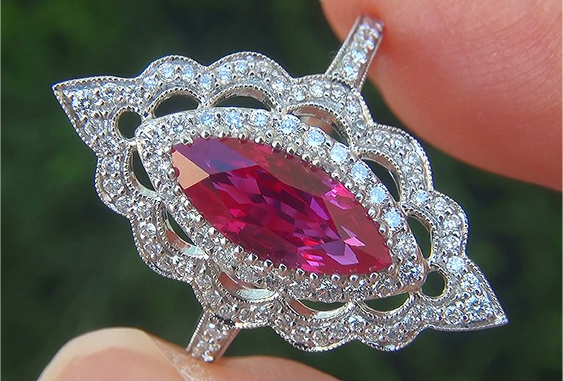 GIA 2.53 ct UNHEATED Natural VVS Red Ruby Diamond PLATINUM Cocktail Ring