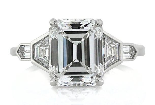 Mark Broumand 4.48ct Emerald Cut Diamond Engagement Ring