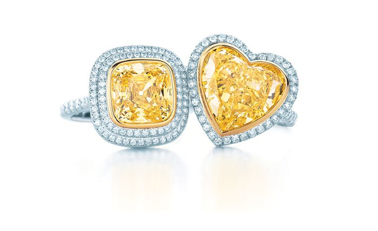 Tiffany & Co, yellow and white diamond rings. Square diamond £45,000 and heart shaped