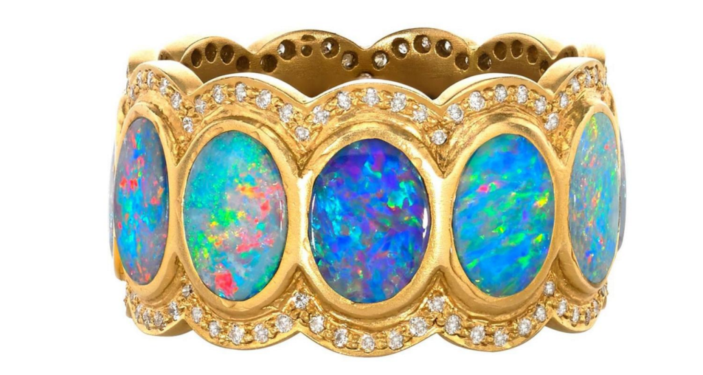 Lauren Harper Boulder Opal Disc Diamond Matte Gold Eternity Band Ring