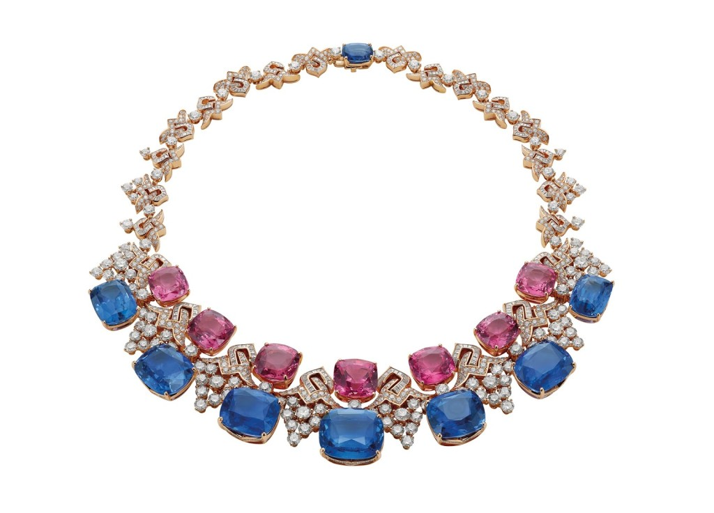 """The """"Blue Iridescence"""" necklace is made of eight rare blue sapphires (187.48 total carats), acquired by Bulgari in various parts of the world and kept by the luxury jeweler for years."""