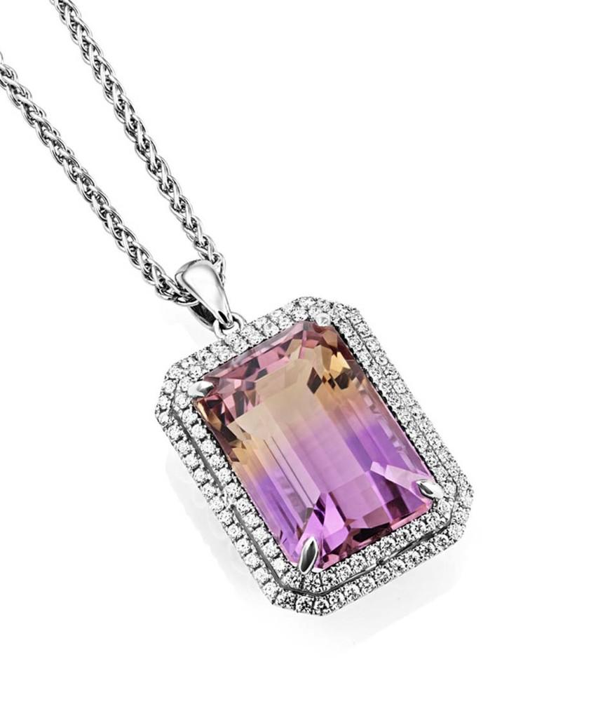 Sheldon Bloomfield ametrine and diamond pendant necklace in white gold