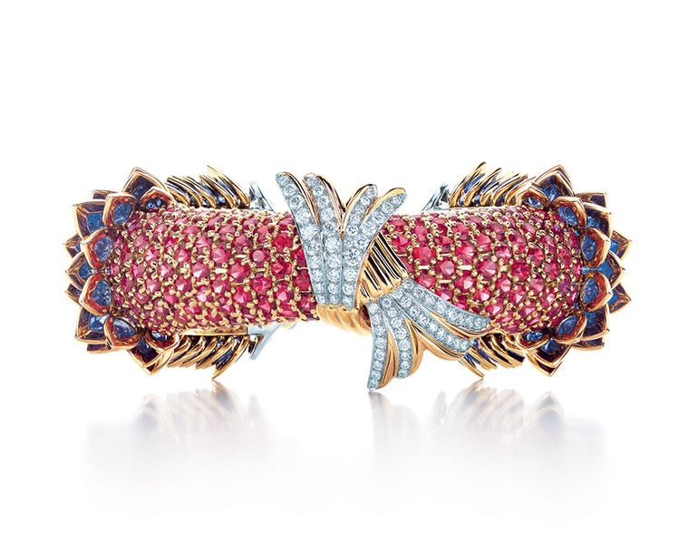 Jean Schlumberger for Tiffany & Co. fish bracelet, from the Blue Book Collection, with sapphires, red spinels and diamonds in platinum and gold.