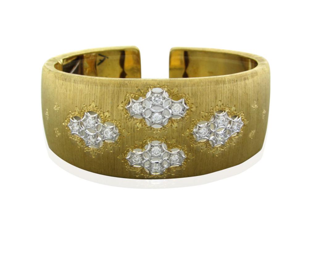 Buccellati 18k Yellow Gold 1.00ctw Diamond Cuff Bracelet