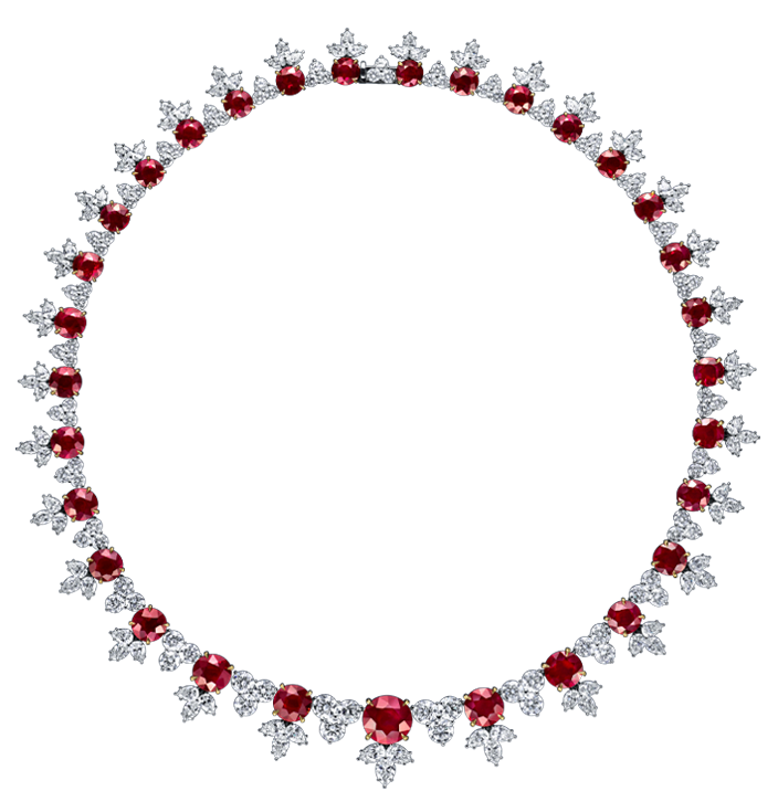 Harry Winston Ruby and Diamond Cluster Necklace