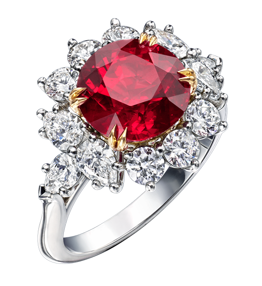 Harry Winston Round Brilliant Ruby and Diamond Ring
