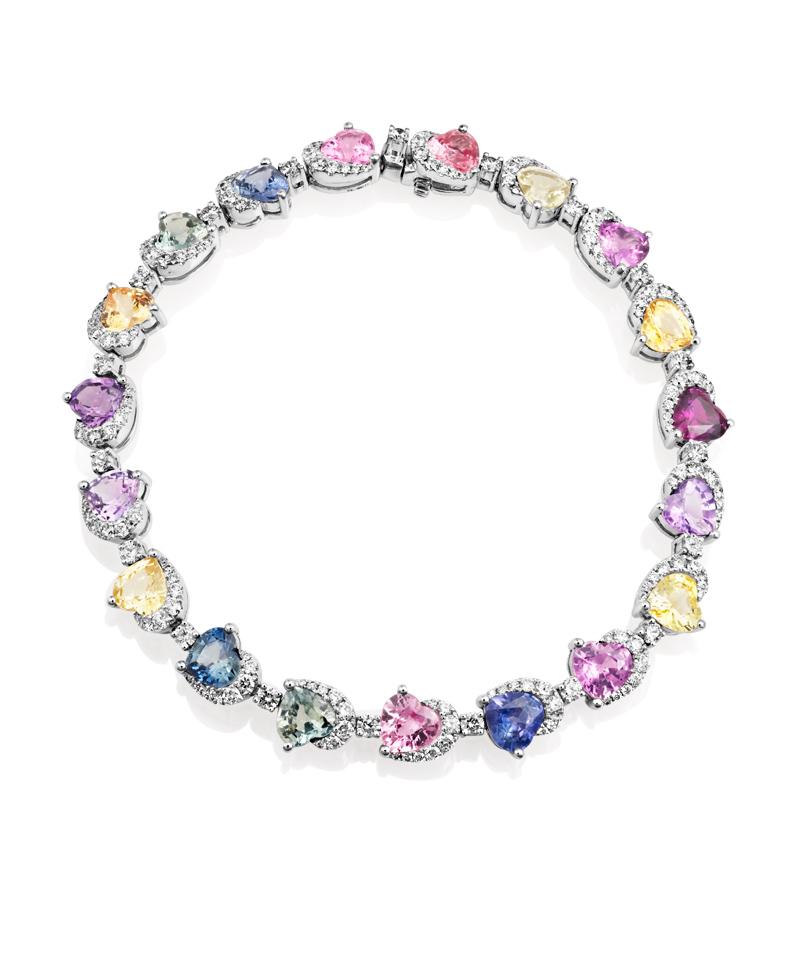 Sheldon Bloomfield Multi Colored Sapphire and Diamond Bracelet 18k White Gold Bracelet Multi Colored Sapphires